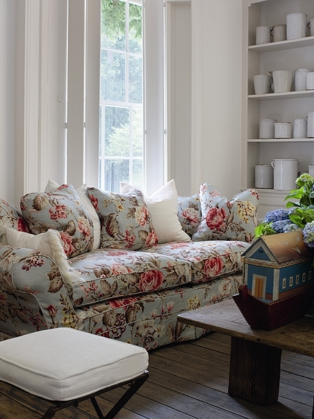 Andrew Martin Fabric In Duck Egg, Available At Http://www Regarding Famous Chintz Fabric Sofas (View 2 of 10)