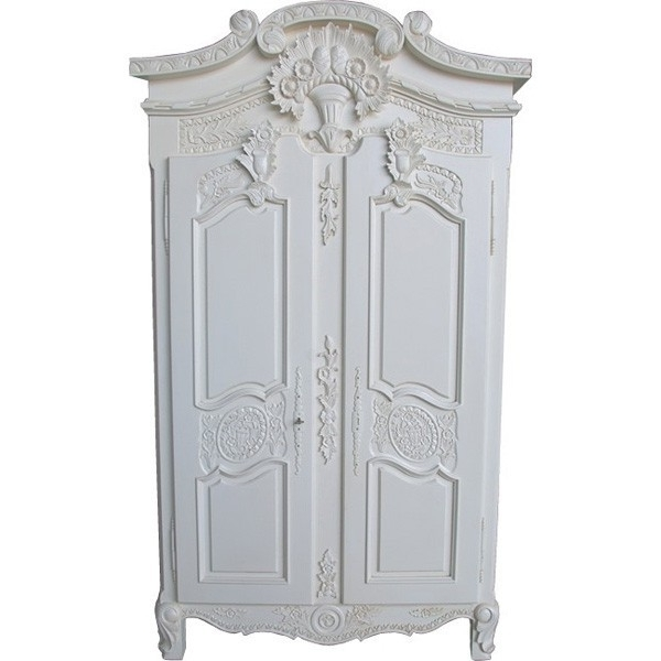 Antique French Wardrobes Pertaining To Latest Small French Versailles Armoire Antique White – Crown French Furniture (View 5 of 15)