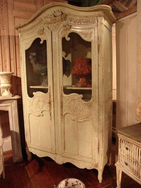 Antique French Wardrobes Within Most Popular Antique French Armoire With Old Paint – Sold – (View 7 of 15)