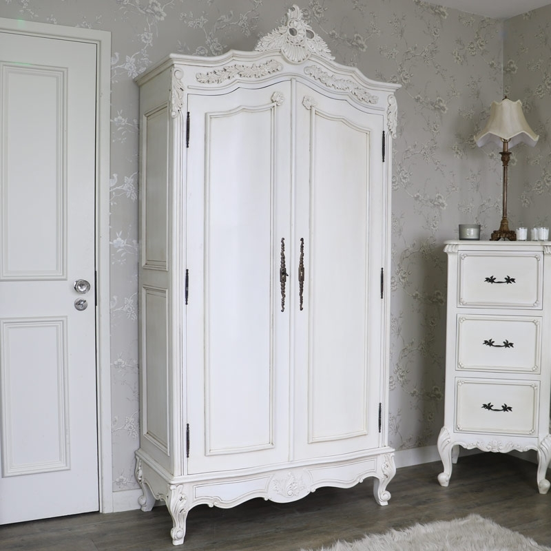 Antique Style Wardrobes Inside Famous Large Antique Cream Double Wardrobe – Limoges Range – Melody Maison® (View 13 of 15)