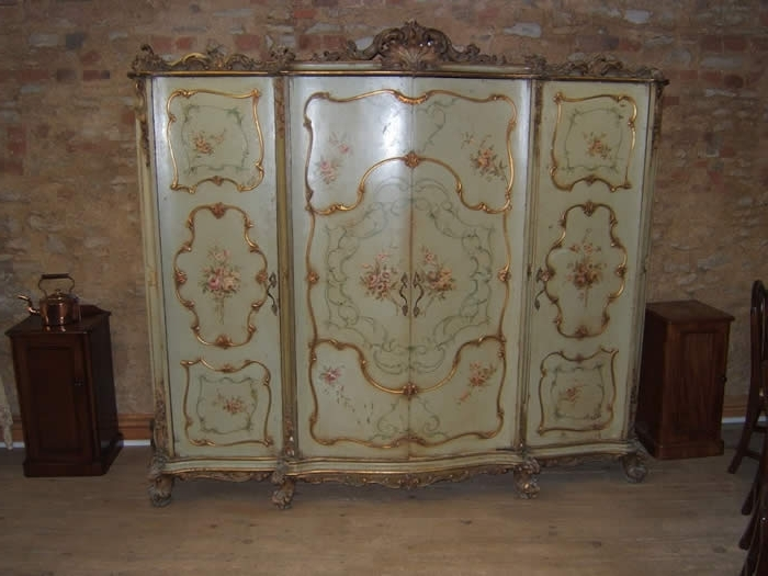 Antique Style Wardrobes Intended For Newest Italian Rococo Style Painted Wardrobe – Antique Wardrobe Uk (View 12 of 15)