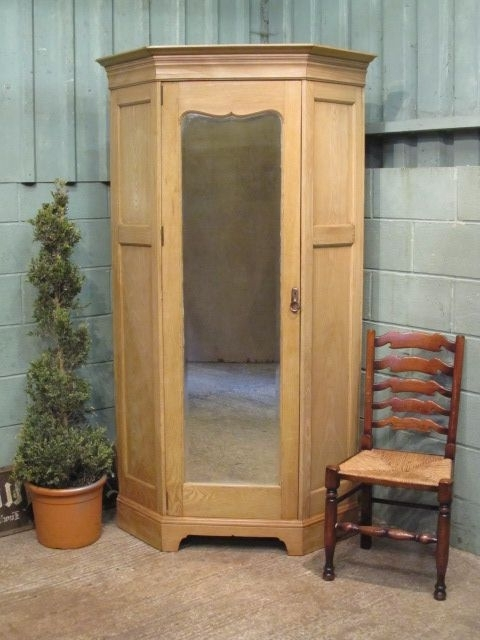Antique Victorian Stripped & Waxed Oak Corner Wardrobe C1880 Pertaining To Recent Oak Corner Wardrobes (View 1 of 15)