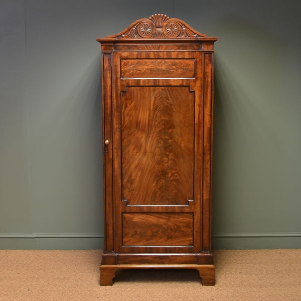 Antique Wardrobes With Most Current Unusual William Iv Small Antique Figured Mahogany Wardrobe (C (View 8 of 15)