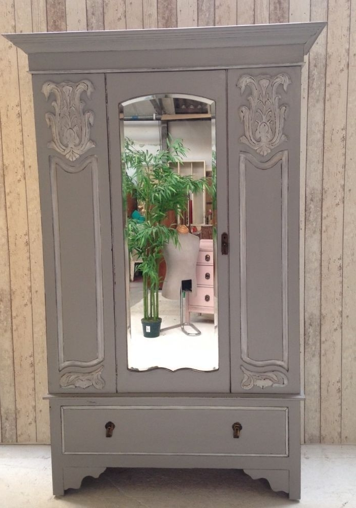 Antique White Wardrobes With Regard To Current Vintage Chic Victorian Mirrored Wardrobe Armoire French Grey (View 4 of 15)