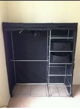 Argos Metal Canvas Wardrobe With Double Rails And Shelves (View 2 of 15)