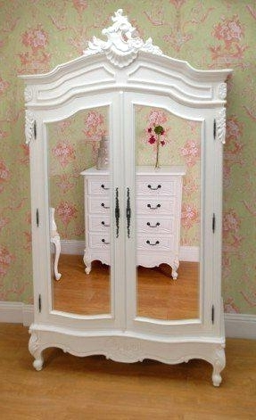Armoire ~ Armoire Mirror Door Double Wardrobe French Doors Shabby Inside Popular French Shabby Chic Wardrobes (View 1 of 15)