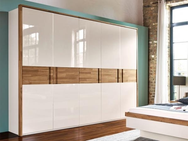 Arte M Feel Modern Solid Oak And High Gloss White Or Grey Wardrobe In Current Oak And White Wardrobes (View 1 of 15)