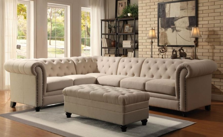 Ashley Tufted Sofas With Regard To Best And Newest Amazing Ashley Furniture White Leather Sofa #7 Grey Tufted (View 6 of 10)