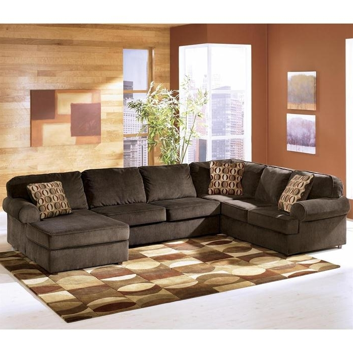 Ashley Vista 3 Piece Sectional In Chocolate (View 7 of 10)