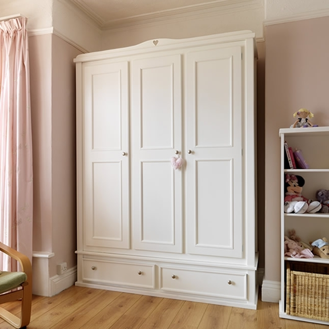 Aspenn Furniture Inside 3 Door White Wardrobes With Drawers (View 6 of 15)