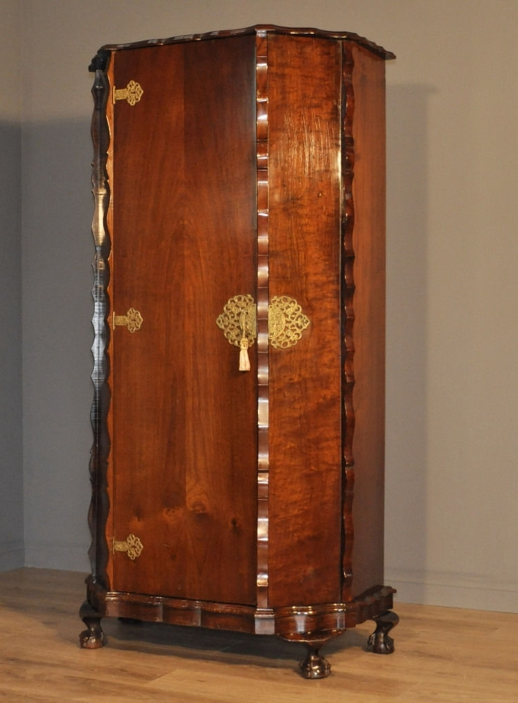 Attractive Small Vintage Mahogany Single Door Ornate Wardrobe Tall With Regard To Trendy Ornate Wardrobes (View 2 of 15)