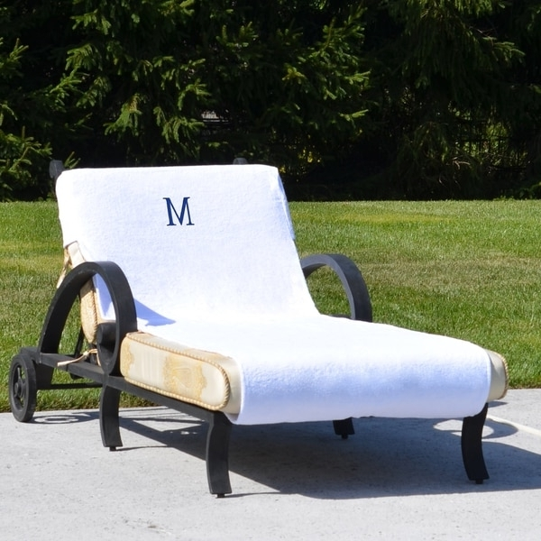 Authentic Hotel And Spa Turkish Cotton Monogrammed Towel Cover For With Regard To Most Recently Released Chaise Lounge Towel Covers (View 14 of 15)