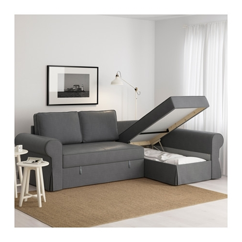 Backabro Sofa Bed With Chaise Longue U2013 Nordvalla Dark Grey U2013 Ikea With  Regard To Most