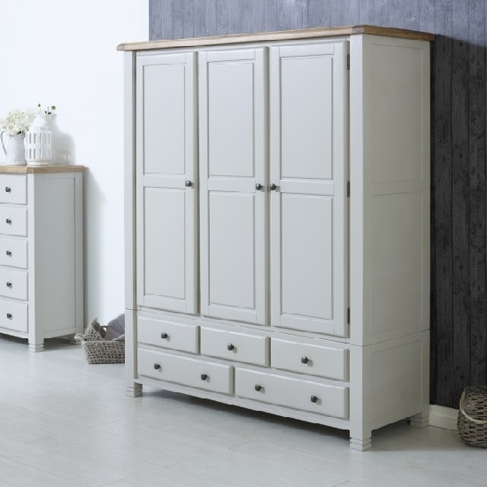 Barista Wooden Wardrobe In Grey With 3 Doors And 5 Drawers In Popular White Wood Wardrobes With Drawers (View 4 of 15)