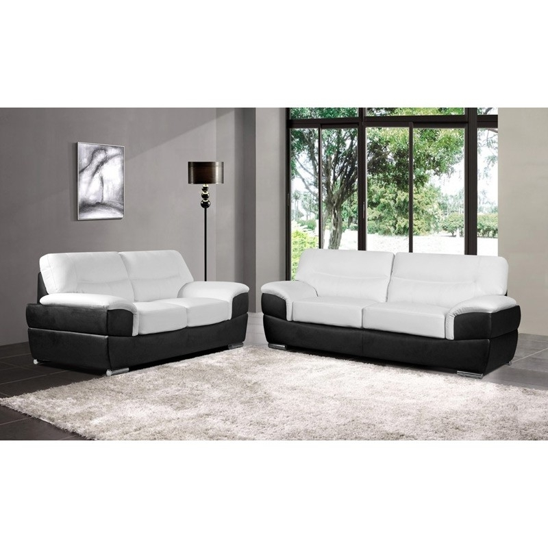 Barletta White Leather Sofa Collection Upholstered In Leather Pertaining To Popular Black And White Sofas (View 2 of 10)