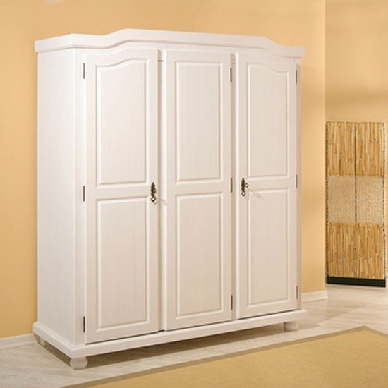 Bastian Wooden Wardrobe In White Painted Finish 19093 With Regard To Best And Newest White Painted Wardrobes (View 3 of 15)