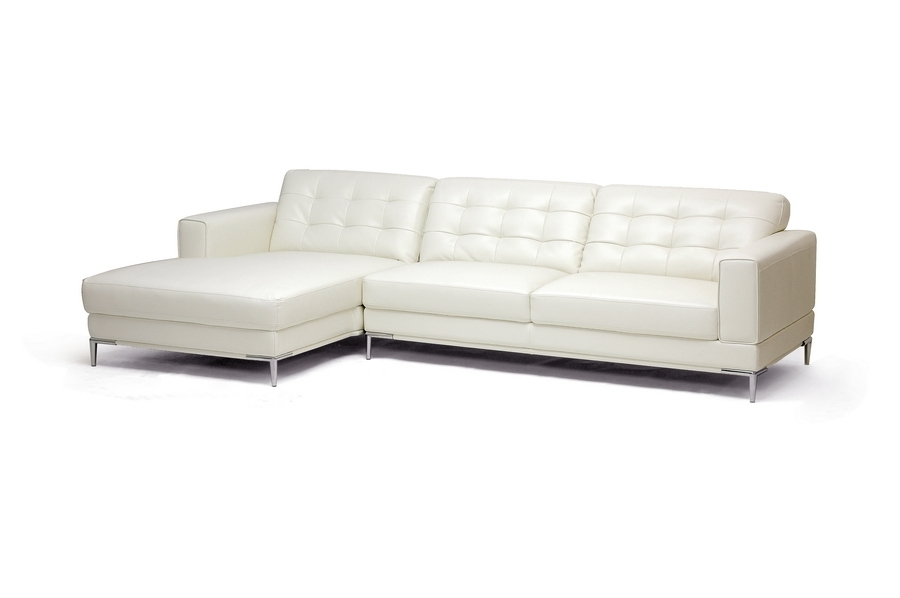 Baxton Studio Babbitt Ivory Leather Modern Sectional Sofa For Trendy Wichita Ks Sectional Sofas (View 2 of 10)