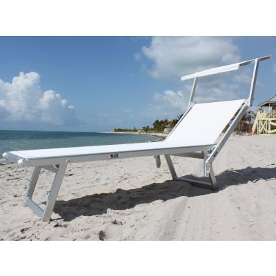 Beach Chaise Lounges Intended For Best And Newest Nanni Beach Sling Chaise Lounge With Sun Shade Aluminum – White Nu (View 5 of 15)