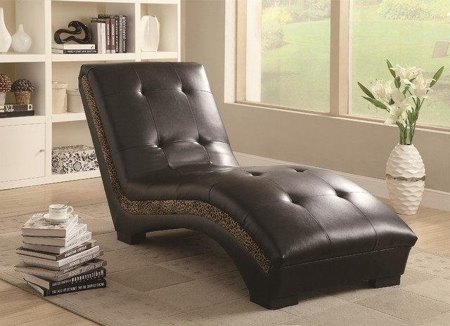 Beautiful Upholstered Chaise Lounge Coaster 550098 Brown Tufted For Fashionable Coaster Chaise Lounges (View 3 of 15)