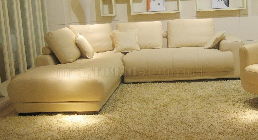 Beige Sectional Sofas Throughout Famous Top Grain Leather Modern Sectional Sofa Bo (View 4 of 10)