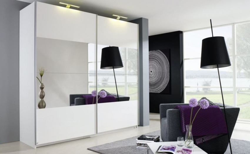Beluga Base Sliding Wardrobe – Front With Mirror Decor Regarding Well Liked Rauch Sliding Wardrobes (View 1 of 15)