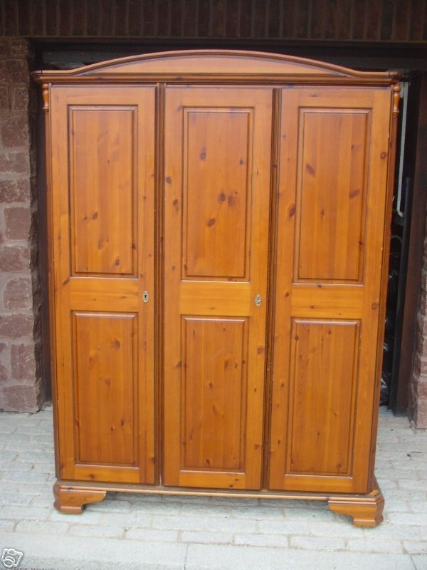 Best And Newest 3 Door Pine Wardrobes Within Ducal Chateau Cognac Finish 3 Door Pine Wardrobe On Castors Rare (View 7 of 15)