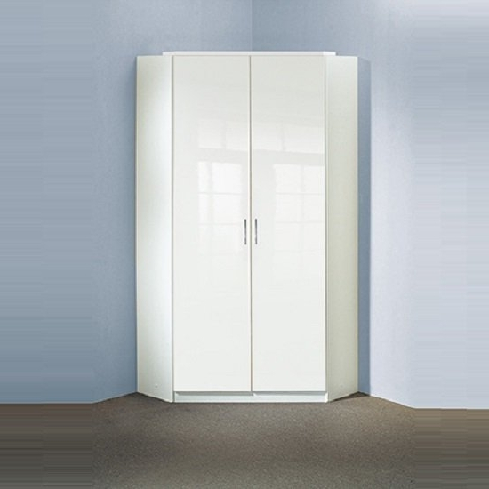 Best And Newest Alton Corner Wardrobe In High Gloss Alpine White With 2 Regarding