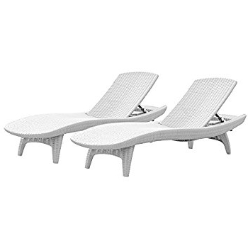 Best And Newest Amazon : Keter Pacific 2 Pack All Weather Adjustable Outdoor Regarding White Outdoor Chaise Lounge Chairs (View 5 of 15)