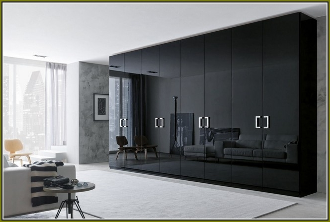 Best And Newest Black Wood Wardrobes Pertaining To Luxury Bedroom With Honeycomb Sandwich Glossy Black Large Bedroom (View 5 of 15)