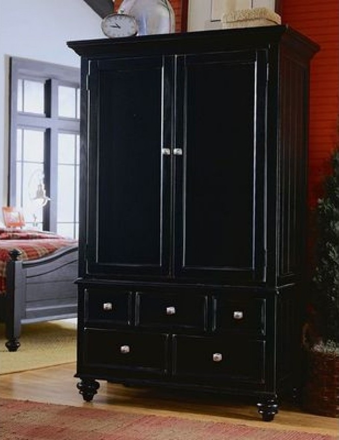 Best And Newest Black Wood Wardrobes Within Furniture: Gothic Wardrobe Armoire With Dark Appearance Also (View 2 of 15)