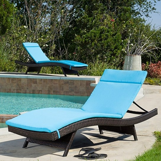 Best And Newest Buy Set Of 2 Blue Cushion Pads For Outdoor Chaise Lounge Chairs With Regard To Cushion Pads For Outdoor Chaise Lounge Chairs (View 1 of 15)