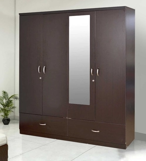 Best And Newest Buy Utsav Four Door Wardrobe With Mirror In Wenge Finish With Cheap Wardrobes With Mirror (View 2 of 15)