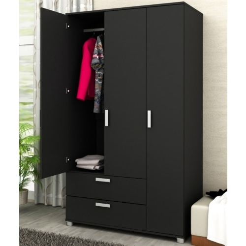 Best And Newest Door 2 Drawer Wardrobe With Drawers – Black Throughout Black 3 Door Wardrobes (View 2 of 15)