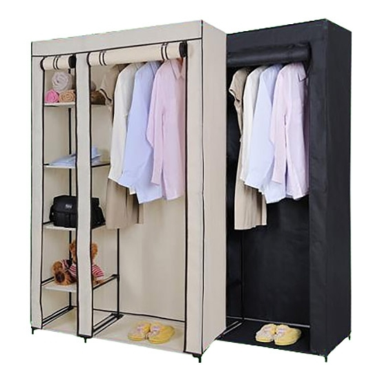 Best And Newest Double Canvas Wardrobe Rail Clothes Storage Cubpboard Black And Regarding Double Canvas Wardrobes Rail Clothes Storage (View 5 of 15)