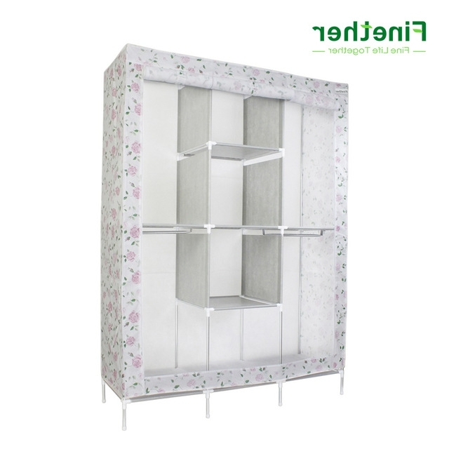 Best And Newest Finether Double Modular Metal Framed Fabric Wardrobe Clothes Intended For Double Rail White Wardrobes (View 2 of 15)