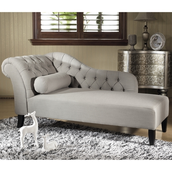 Best And Newest Overstock Chaise Lounges Intended For Baxton Studio 'aphrodite' Tufted Putty Gray Linen Modern Chaise (View 5 of 15)
