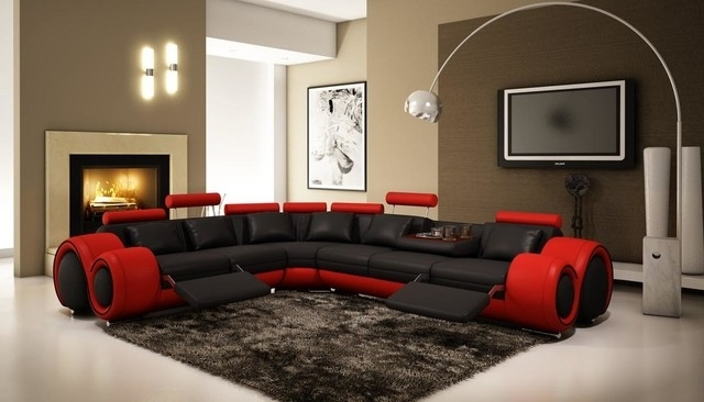 Best And Newest Red Black Sectional Sofas Pertaining To Black And Red Sectional Sofa With Adjustable Headrest – Modern (View 1 of 10)