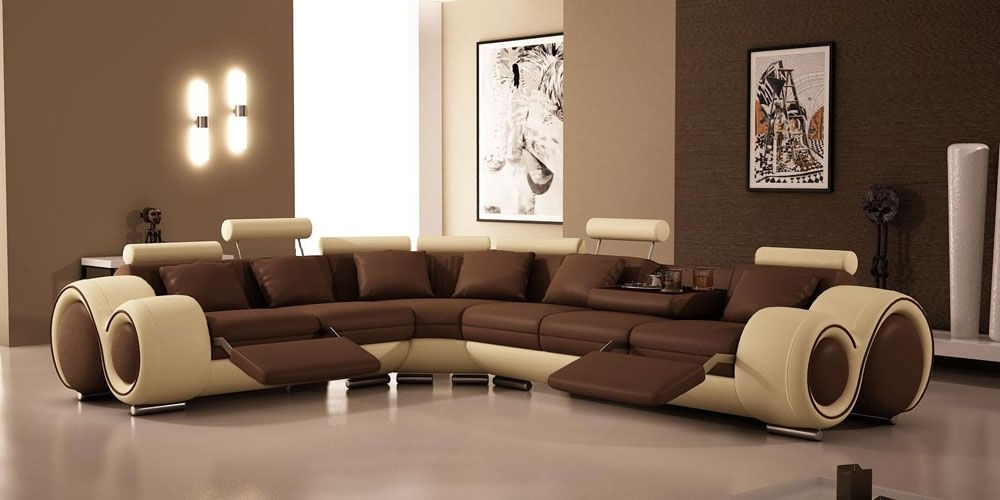 Best And Newest Sectional Sofas With Cup Holders For Modern Leather Sectional Sofa With Recliners And Cup Holders (View 1 of 10)