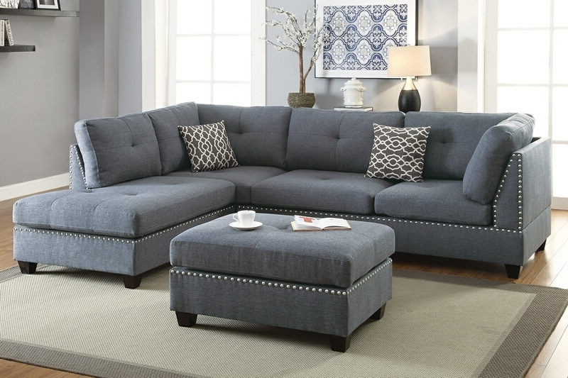 Best And Newest Sectionals With Reversible Chaise Intended For Poundex F6975 3 Pc Martinique Collection Blue Grey Linen Like (View 7 of 15)