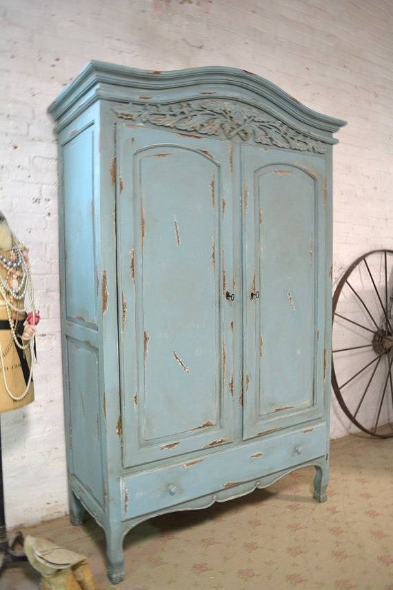 Best And Newest Silver French Wardrobes For Deposit For Janelle French Armoire Painted Cottage Chic Shabby (View 14 of 15)