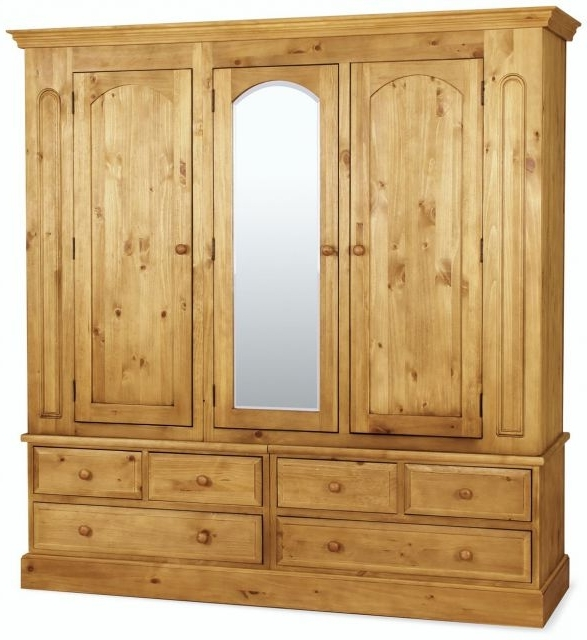 Best And Newest Triple Mirrored Wardrobes For Traditional Pine Triple Wardrobe With Mirror – Wardrobes With (View 4 of 15)