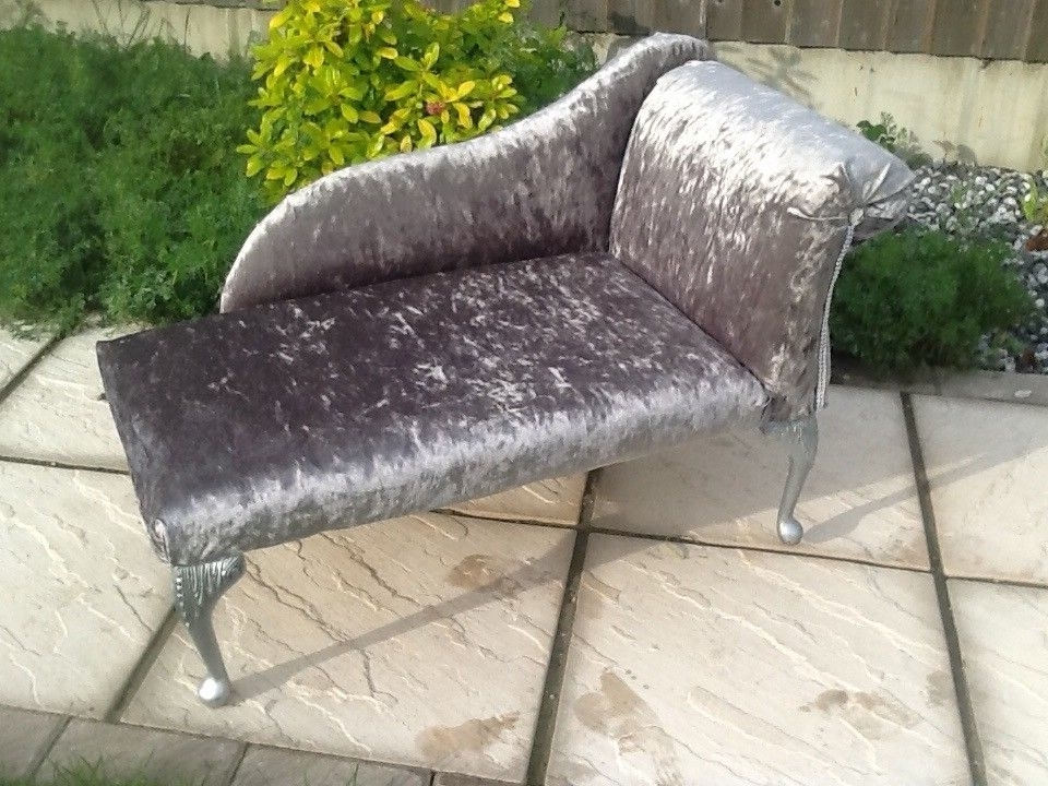 Best And Newest Upcycled Crushed Velvet Mini Chaise Longue (Children / Dog / Cat Within Mini Chaise Lounge Chairs (View 2 of 15)