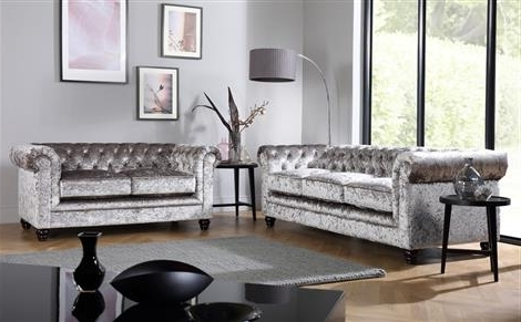 Best And Newest Velvet Sofas With Regard To Hampton Silver Crushed Velvet Chesterfield Sofa 3 Seater Only (View 3 of 10)
