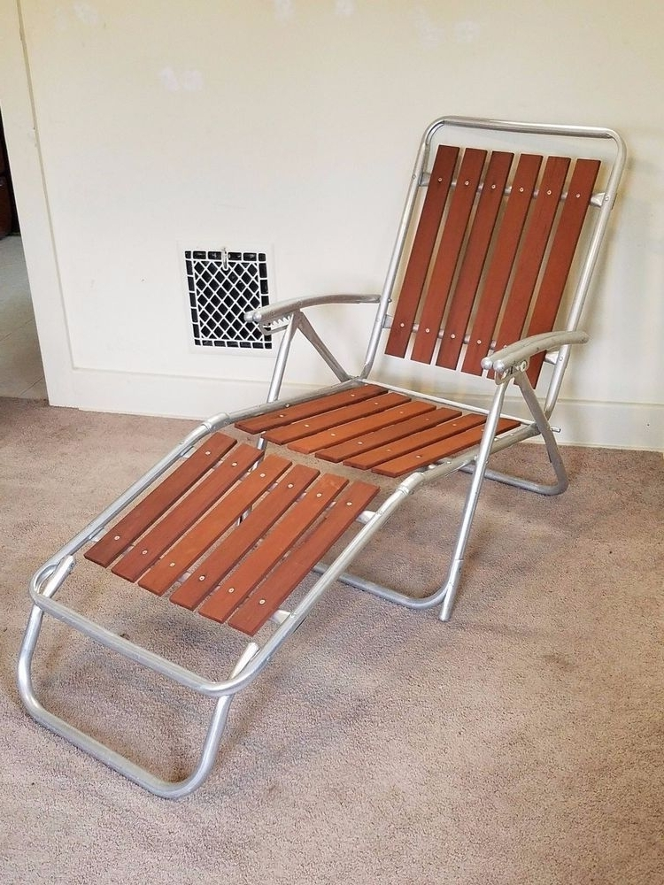 Best And Newest Vintage Redwood Slat Aluminum Lawn Chair Chaise Lounge Folding Inside Vintage Outdoor Chaise Lounge Chairs (View 5 of 15)