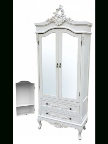 Best And Newest White Antique Wardrobes In White Armoire Wardrobe Full Mirrored Doors (View 4 of 15)