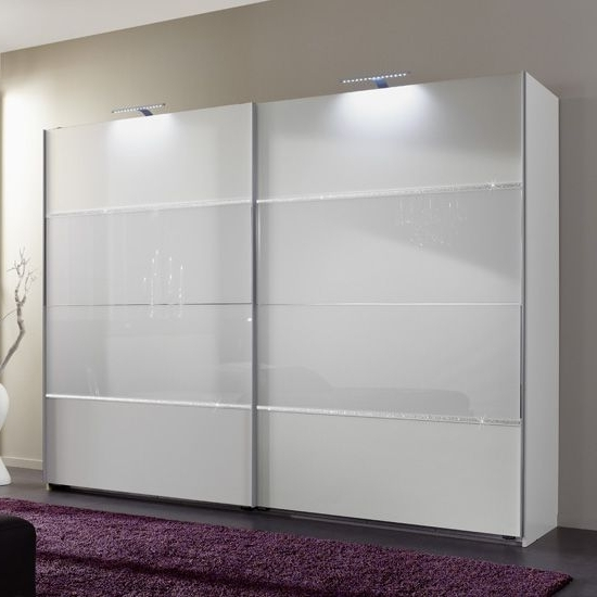 Best And Newest White Gloss Sliding Wardrobes With Sicily Sliding Wardrobe In Alpine White And Glass With Rhineston (View 2 of 15)