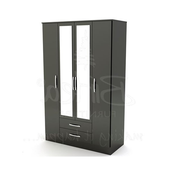 Birlea Aztec Black High Gloss 2 Drawer Nightstand – Cheap Beds Leeds Regarding Famous Cheap Black Wardrobes (View 2 of 15)