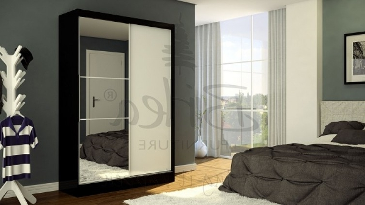 Birlea Lynx Black With White Gloss Sliding Door Wardrobe With Pertaining To Favorite Black Gloss Mirror Wardrobes (View 3 of 15)