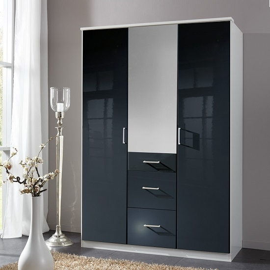 Black 3 Door Wardrobes In Well Liked Alton Mirror Wardrobe In Gloss Black Alpine White With  (View 4 of 15)