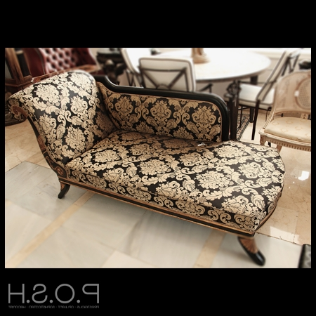 Black And Gold Chaise Longue – Posh Seconds Marbella – Quality Pertaining To Widely Used Gold Chaise Lounge Chairs (View 3 of 15)